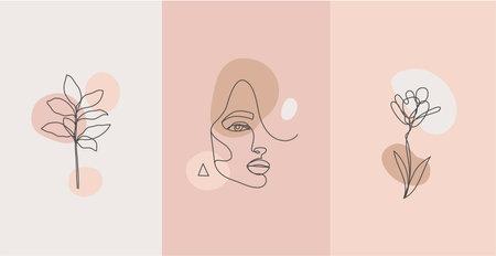 Vector minimalist style portrait. Line plant, woman portrait. Hand drawn abstract feminine print. for social net stories, beauty logos, poster illustration, card, t-shirt print. Art woman line face.
