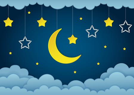 Halbmond, Sterne und Wolken auf dem dunklen Hintergrund des nächtlichen Himmels. Papierkunst. Girlande mit Sternen. Vektor-Illustration.