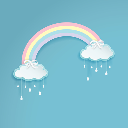Pastel colored rainbow with cartoon rainy clouds on the blue background. Silver bows with the cloud shape labels. Paper art style. Clean and minimal design. Vector Illustration.  Vettoriali