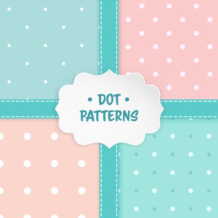Set of polka dot seamless patterns Vettoriali