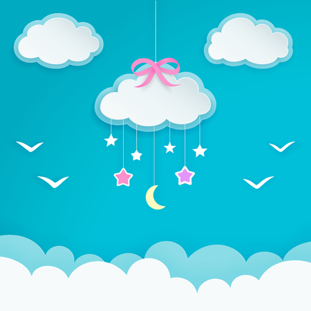 Blue sky with hanging cloud with pink bow, crescent moon, stars and birds silhouettes. Paper cloud shape labels. Children's room or baby nursery decor.