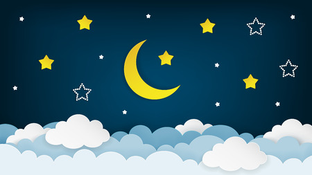 Half moon, stars and clouds on the dark night sky background. Paper art. Night scene background. Vector Illustration.