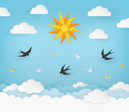 Sun, clouds, birds, and butterflies on the clear blue summer sky background. Black swallows and pink and yellow butterflies in the air. Polygonal origami, craft and paper art. Vector Illustration.
