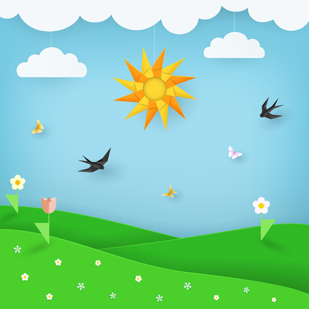Summer landscape background with green field with flowers and blue sky with butterflies, birds, clouds and sun. Sunny day scenery background. Paper, craft style. Modular origami. Vector Illustration.