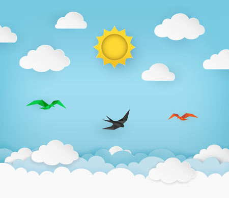 Clear blue sky with sun, clouds and flying birds. Swallow flying in the sky. Cloudy scenery background. Paper and craft style. Origami birds. Clean and minimal design. Vector Illustration. Ilustração