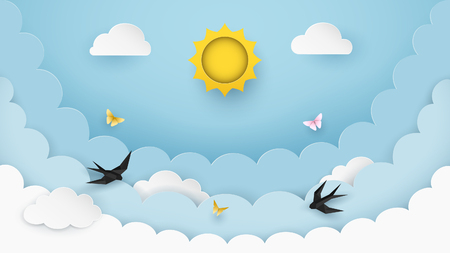 Sun, clouds, flying birds and butterflies on the clear blue sky background. Cloudy scenery background. Paper and craft style. Origami swallows. Cartoon background for children. Vector Illustration. Illustration