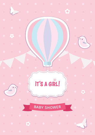Girl baby shower template with hot air balloon, birds, butterflies, flowers, ribbon, garland, and decorative frame on the pink dotted background. Flat design illustration. Stock Illustratie