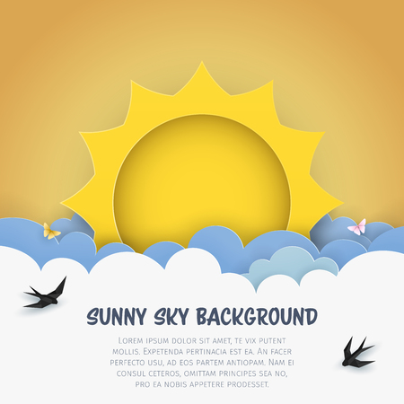 Cartoon cloudscape background with sun, clouds, flying birds, butterflies. Cloudy scenery background. Craft, paper art, minimal design. Kids bedroom, baby nursery illustration. Illustration