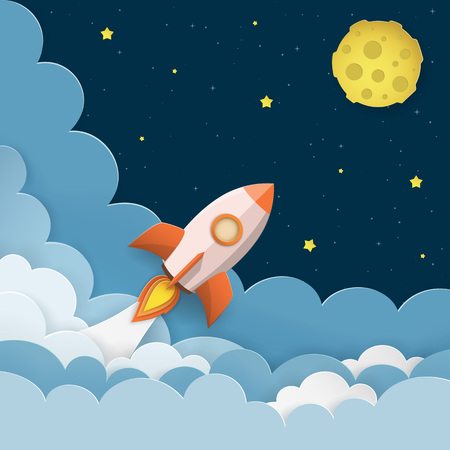 Rocket launch to the Moon. Cute space background with stars, moon, rocket, clouds, smoke. Night sky background with flying rocket. Paper cut craft style Illustration.