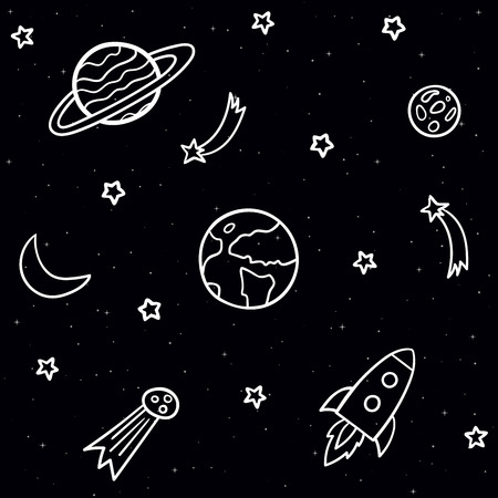 Doodle seamless pattern with space elements. Stars, planets, comet, moon, rocket, shooting stars on the dark night background Vettoriali