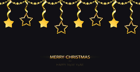 Christmas garland with sparkling yellow gold baubles on the black background. Golden decoration with hanging stars with ribbons. Merry Christmas and Happy New Year greeting card. Vector Illustration.