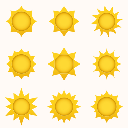 Sun icon set. Summer sky elements. Sun silhouettes collection. Isolated sun symbol. Cute cartoon sun icons with shadow, stroke and 3d effect. Paper and craft style Ilustração