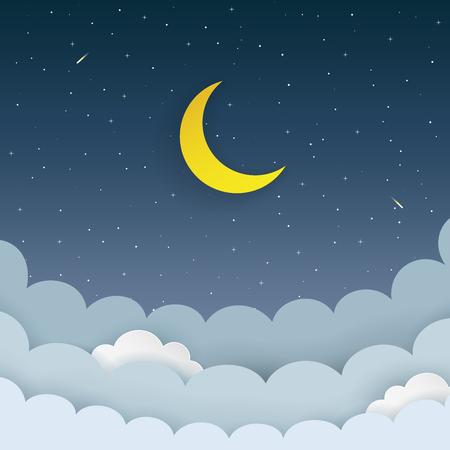 Demi-lune, étoiles, nuages, comète sur le fond de ciel étoilé de la nuit noire. Fond de galaxie avec la lune et les étoiles filantes. Papier et style artisanal. Fond minimal de scène de nuit Vecteurs