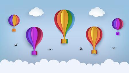 Helderblauwe lucht met wolken, vliegende vogels, regenboogkleurige heteluchtballonnen. Zwaluwen vliegen in de lucht. Papier ambachtelijke zomer landschap achtergrond. Leuke cartoonbehang Vector Illustratie