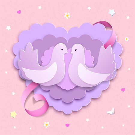 Dove couple with layered 3D paper hearts and pink ribbon. Love background with flowers, stars, butterflies, hearts for Valentine's day card or wedding template. Paper cut style. Vector Illustration.  Vettoriali