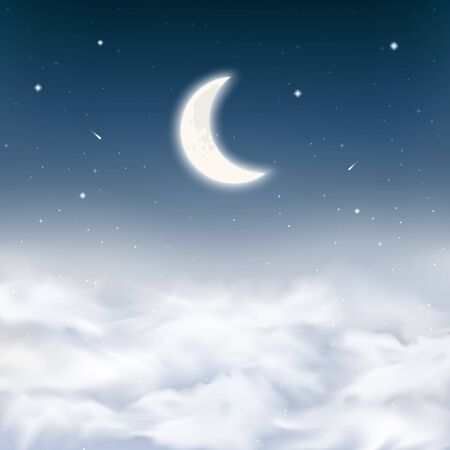 Midnight sky background with crescent moon, stars, comets, realistic dense clouds. Starry night sky above clouds. Peaceful scene night sky background with half moon. Vector Illustration. Illustration
