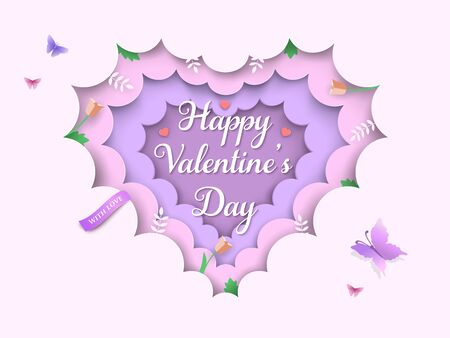 Valentine's Day layered 3d background with heart shaped clouds, spring flowers, tulips, branches, green leaves, butterflies, ribbon. Pink and purple pastel colored paper cut frame. Vector Illustration
