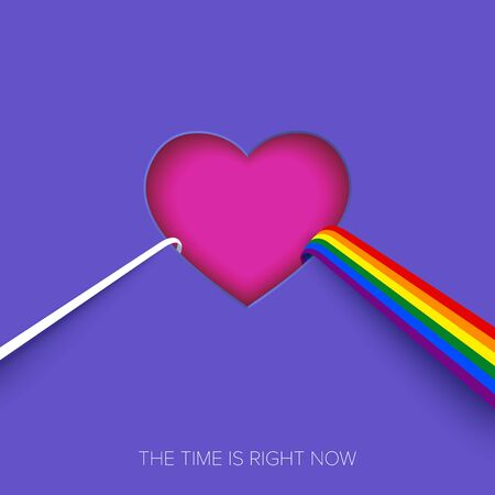 Abstract heart-shaped dispersive prism with a ray of light and rainbow. Dispersion of Light and Refraction. LGBTQ creative concept with six-striped rainbow flag. Gay Pride concept. Vector Illustration