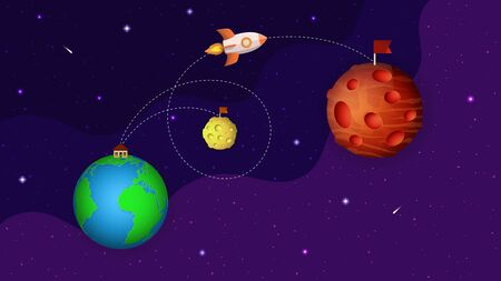 Earth, Moon, Mars on the space background with stars, comets. Cartoon rocket flight to the Mars. Space trip from the Earth to Mars. 3d paper cut style. Space exploration. Vector illustration.