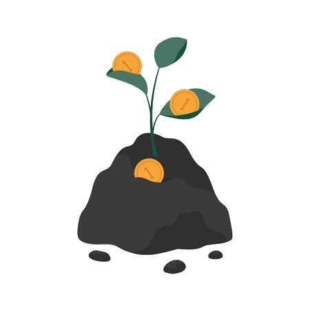 Green investment concept. A plant growing from the ground brings gold coins. Money tree generates cash. Vector flat illustration