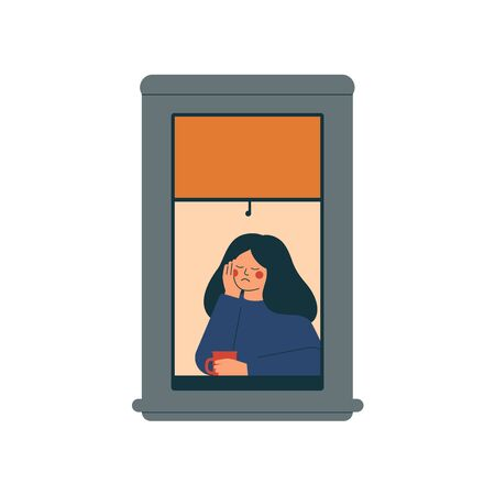 Sad lonely woman sits at home in a quarantined environment. Depressed girl sits near open window and drinks coffee. Vector illustration