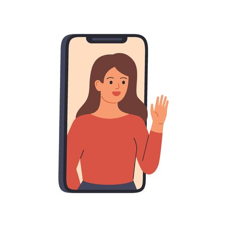 Young woman speaks from a smartphone display. Happy girl on the phone is having a remote conversation with friends. Internet communication, online video messaging of people in quarantine. Vector
