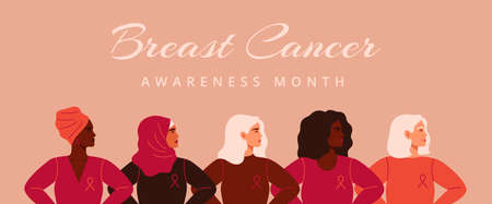 Five women with pink ribbons of different nationalities standing together. Breast cancer awareness prevention month banner. Concept of support and solidarity with females fighting oncological disease