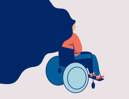Sad young woman is sitting in a wheelchair isolated on light background. Back view of female person with physical disability or impairment in a wheelchair. Vector illustration