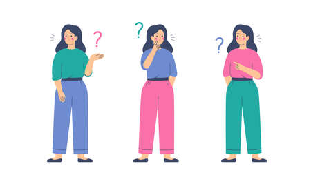 Girls think and ask questions. Women surrounded by question marks. Flat cartoon vector illustration.