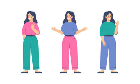 Friendly Girls is greeting gesture. Young woman waving hand and saying hello or goodbye. Flat vector illustration Ilustración de vector