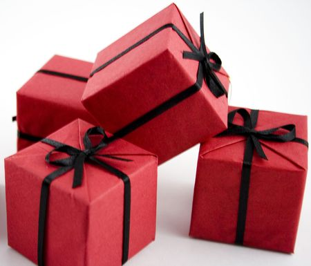 little red gifts isolated over white Stock Photo - 2426261