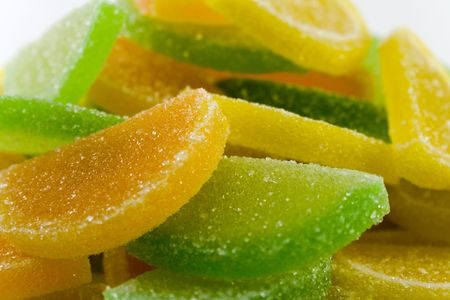 close-up of colourful fruit candies photo