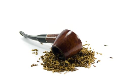 tobacco-pipe and heap of tobacco over white background photo