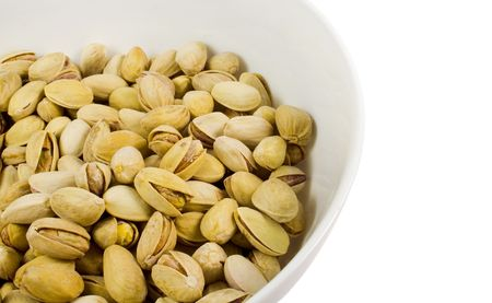 bowl of pistachios close-up over white photo
