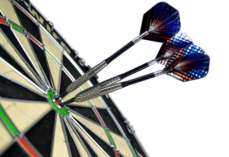 dart board: target and darts over white