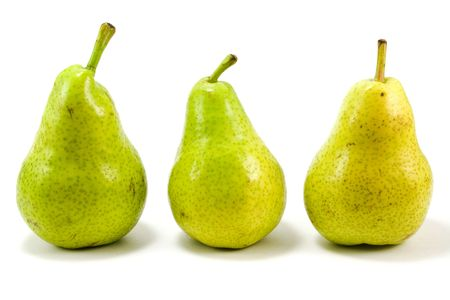 three pears isolated over white photo