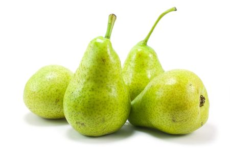 four pears over white photo