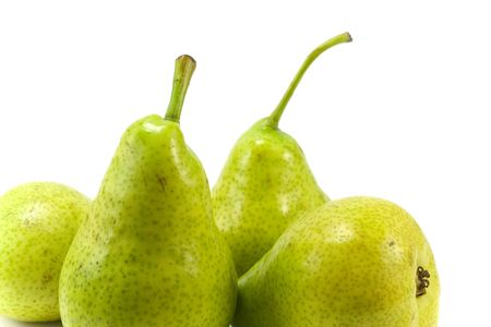 close-up pears over white photo