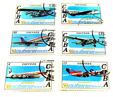 collection of cuba post stamps photo