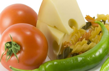 vegetables, cheese and pasta photo