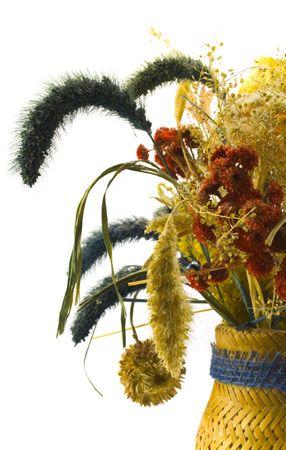 dried flower arrangement: dried bouquet in vase close-up Stock Photo