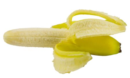 single yellow banana isolated on white background photo
