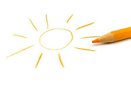 drawn sun and pencil photo