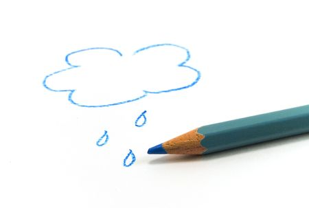 drawn blue cloud and pencil Stock Photo - 2914533