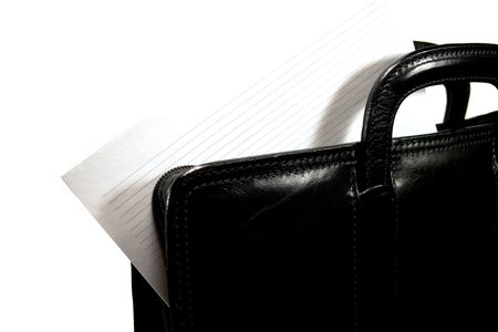 black leather portfolio with blanc close-up photo