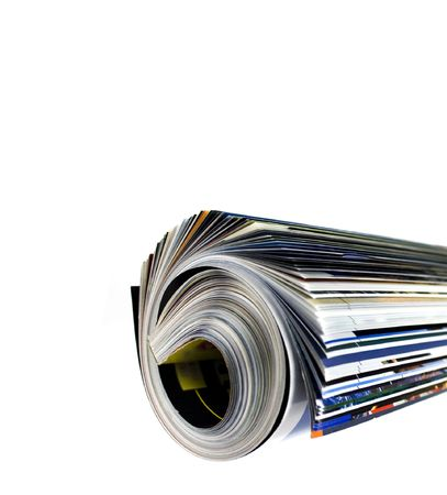rolled up magazine over white Stock Photo - 3011238