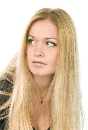 portrait of pretty green-eyed blonde in black on white background photo