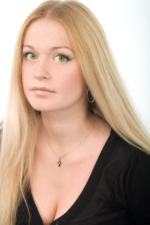 young attractive green-eyed woman in black on white background  photo
