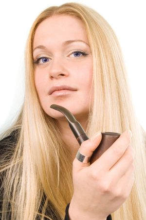 Portrait of the beautiful blond woman with tobacco-pipe in her hand Stock Photo - 3176259