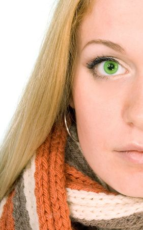 Blond woman in a scarf on white.Close up. Copy space photo